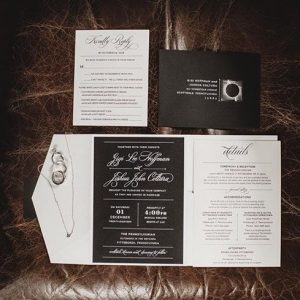 black and white pocket wedding invitation custom