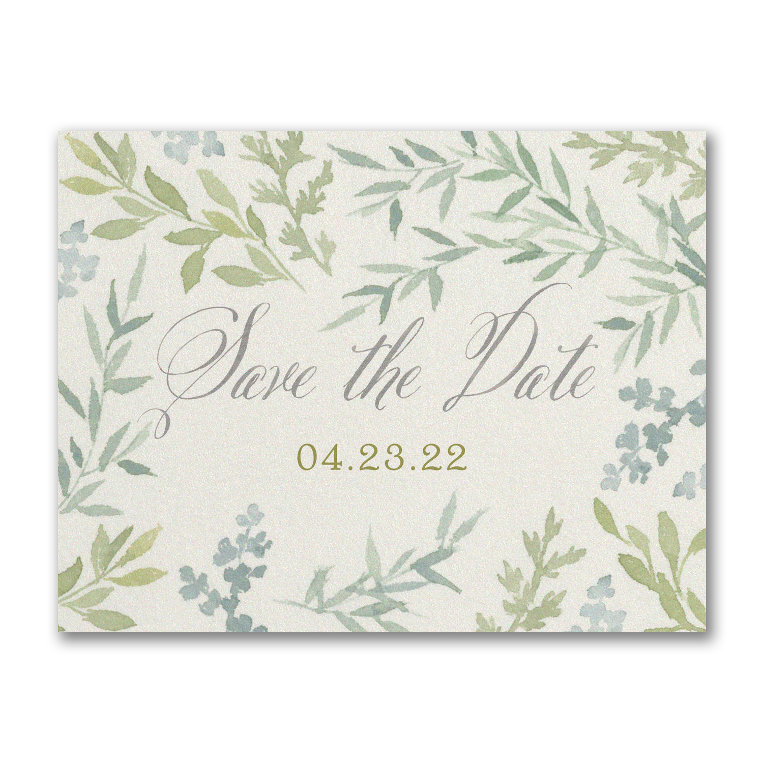 romantic greenery save the date postcard