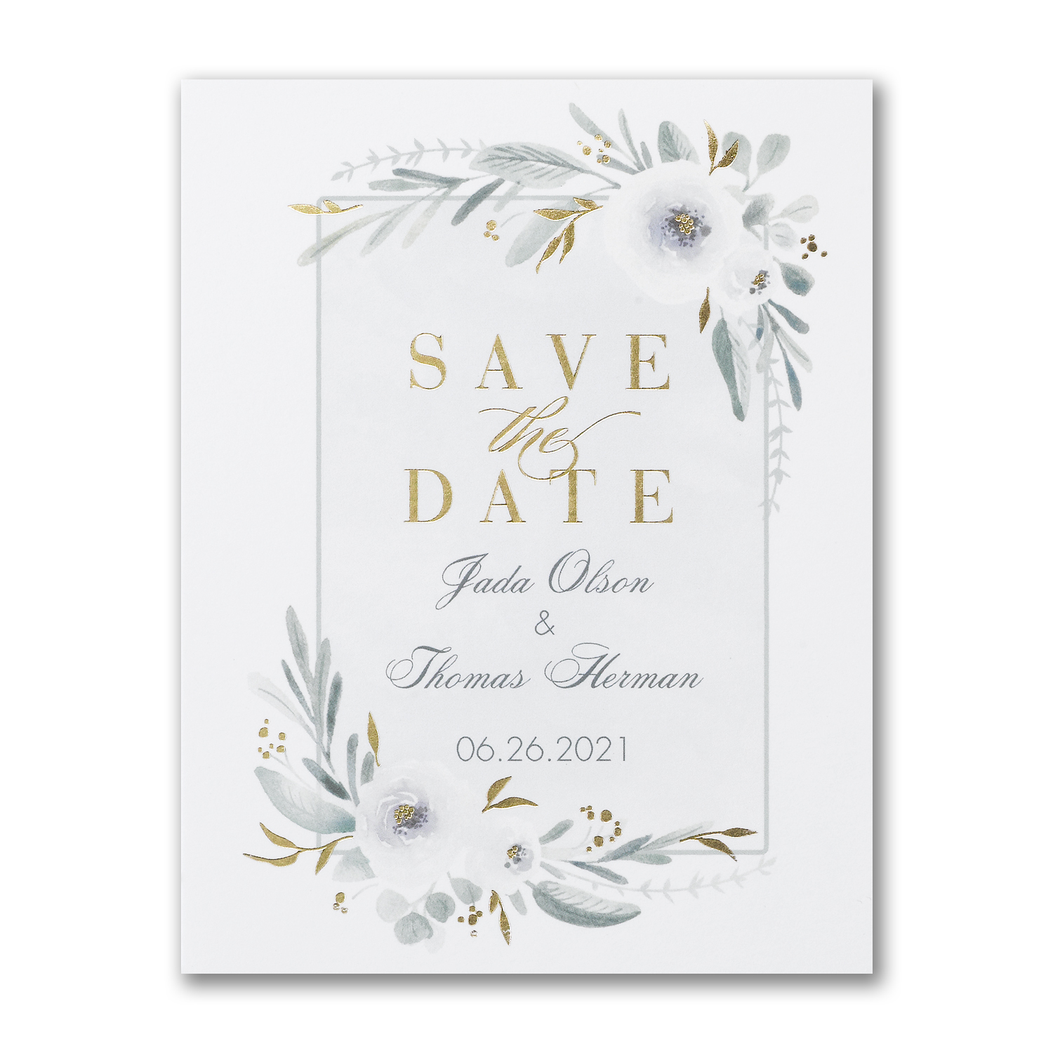 floral greenery foil save the date postcard