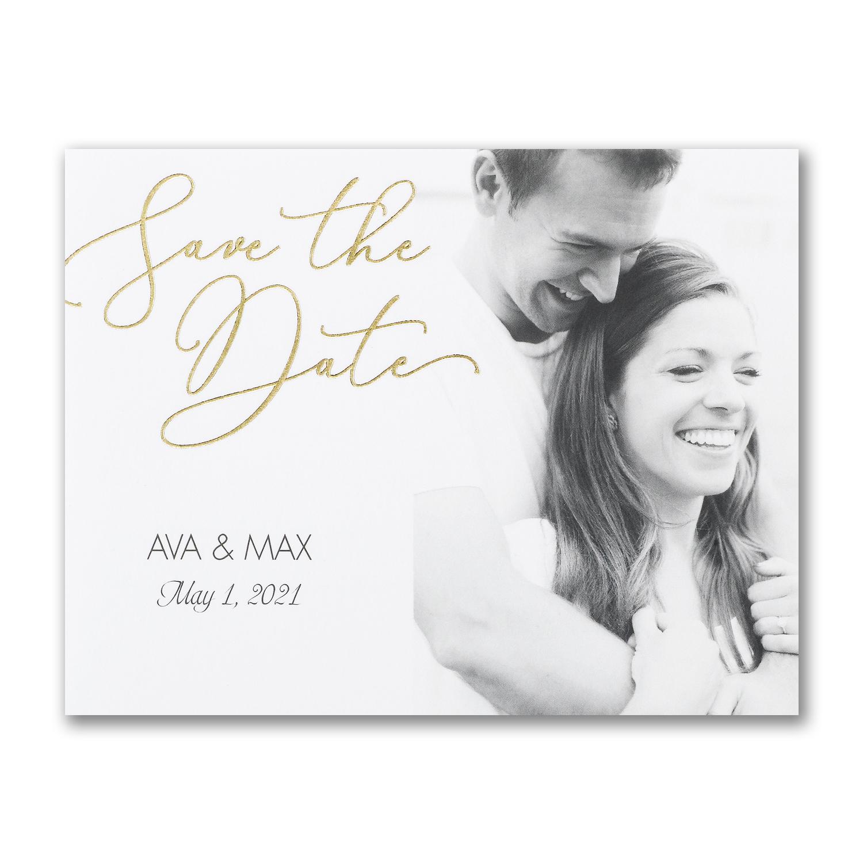 romantic script photo save the date gold foil carlson craft