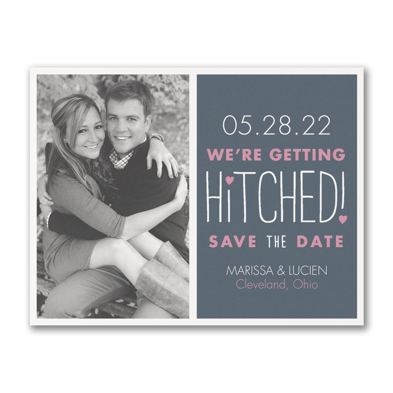 romantically hitched photo save the dates carlson craft