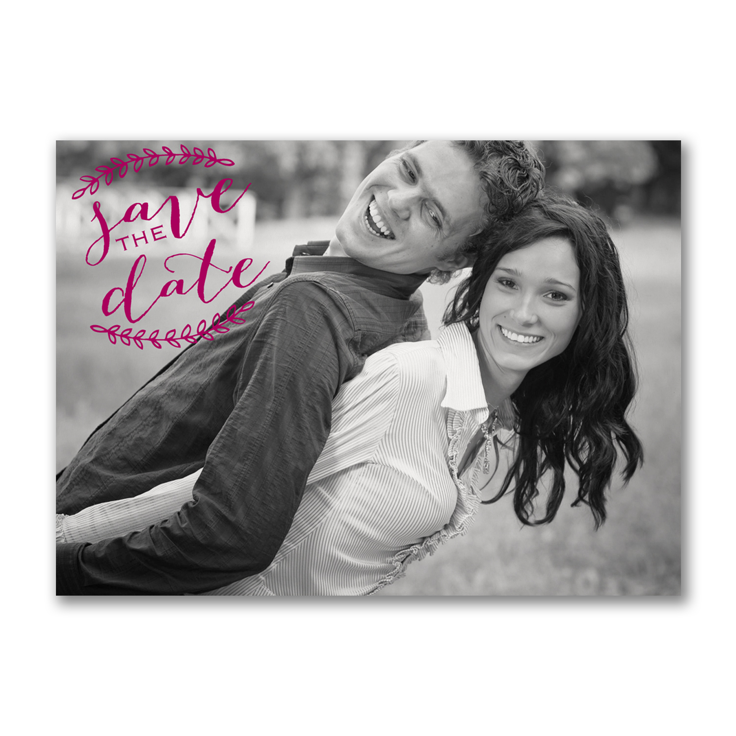 rustic leaves photo postcard save the dates