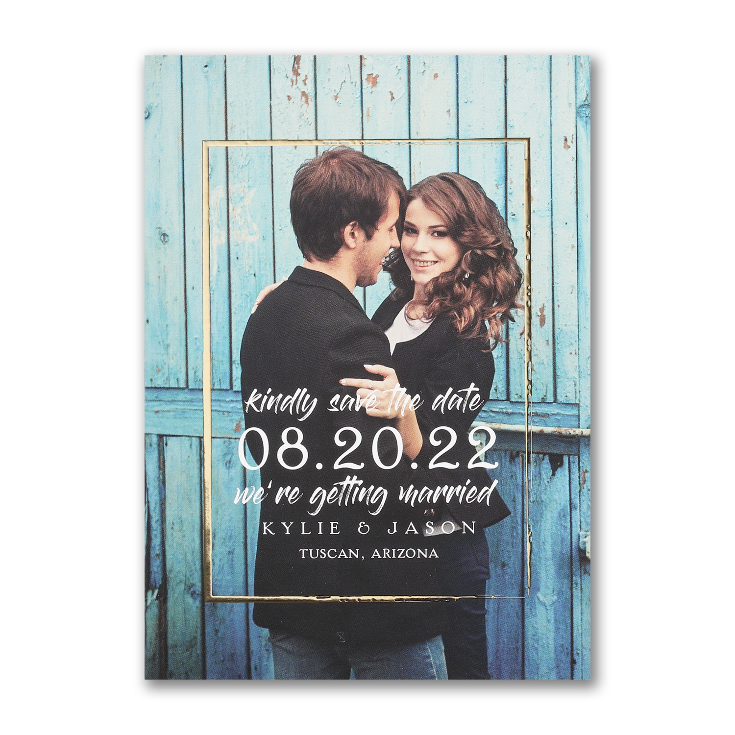 shining border photo save the date gold foil carlson craft