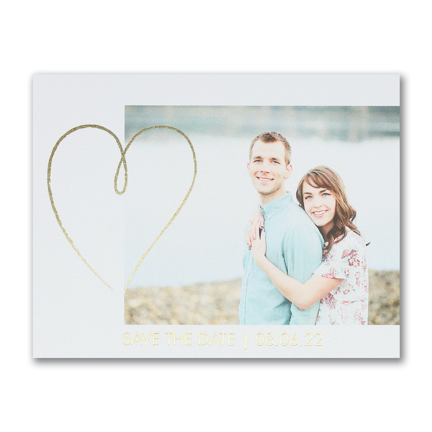 shining heart foil photo save the date carlson craft