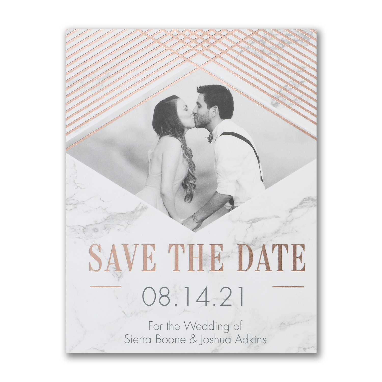 marble geometric photo foil save the date postcard