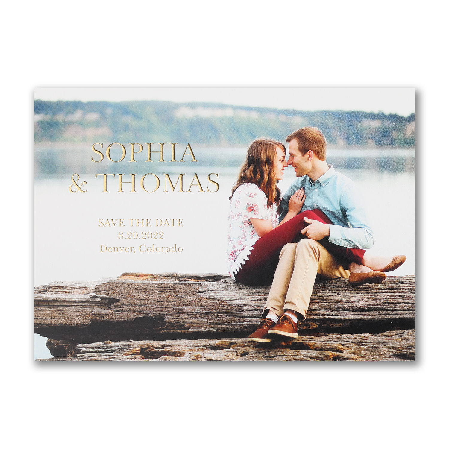 simply us foil stamped photo save the date carlson craft
