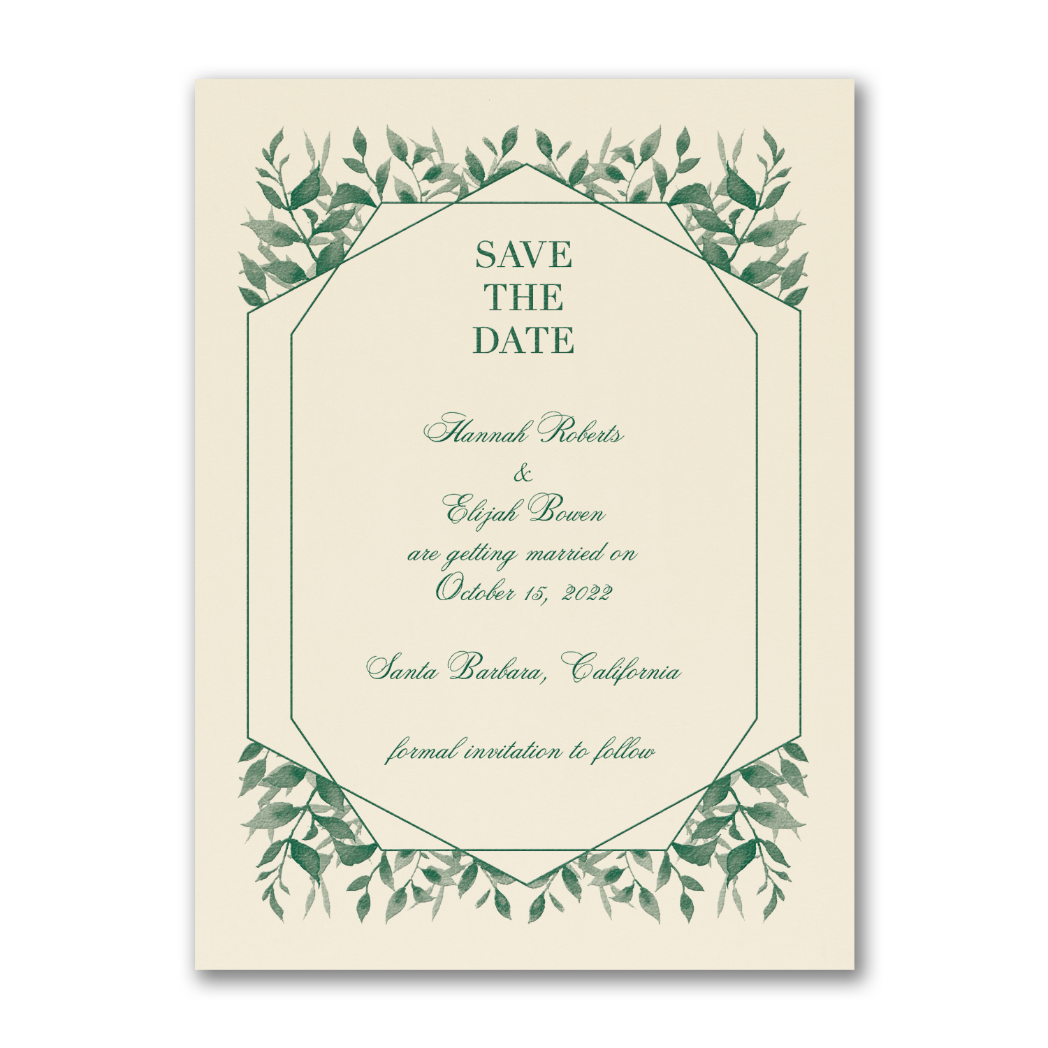 Sophisticated Greenery save the date carlson craft
