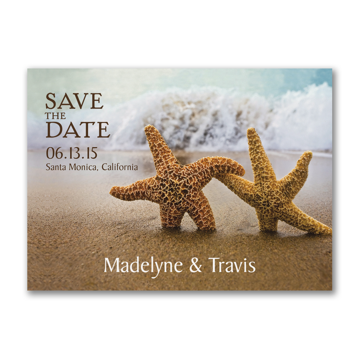 starfish save the date destination wedding postcard