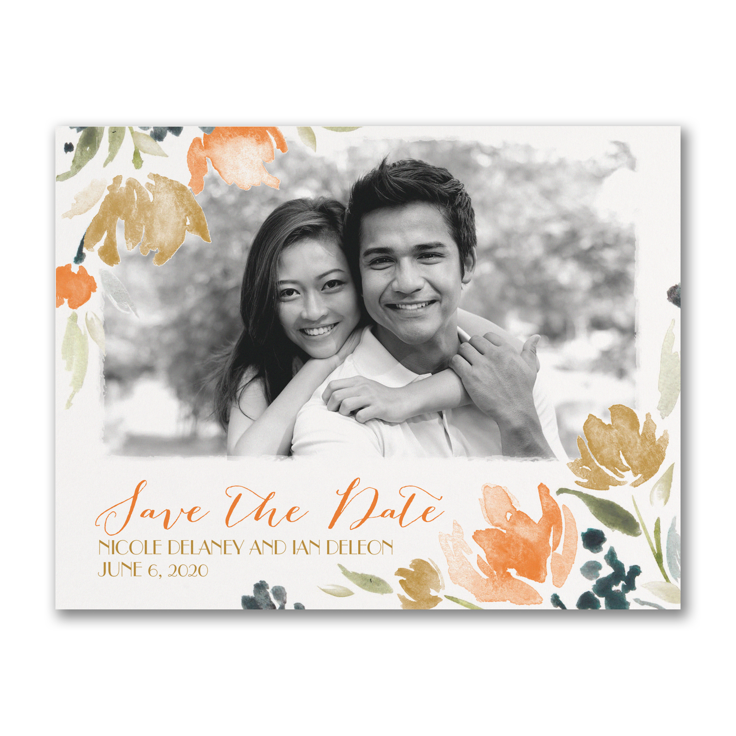 Watercolor Wildflowers save the date carlson craft