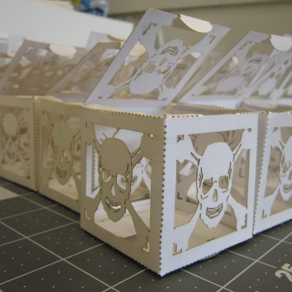 skull laser cut treat boxes