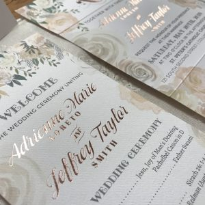 Rose gold foil ceremony program