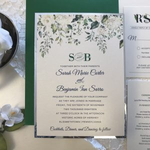 green and silver floral wedding invitation
