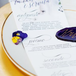 violet watercolor wedding menu